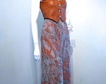 Vintage 1970s Gypsy Hippie Bohemian Festival Sheer Maxi Skirt // Metallic Gold Threads