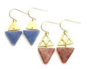 Dallas -- brass and colorful triangle earrings