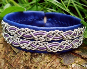 Lapland Sami Viking Bracelet MUNINN in Blue Reindeer Leather with Purple Leather Cord and Pewter Silver Braids - Custom Handcrafted Folk Art