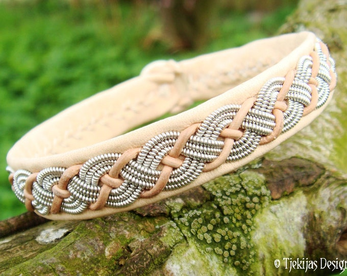 VALHAL Natural Reindeer Leather Sami Viking Bracelet. Custom Handcrafted Genuine Nordic Folklore Jewelry from Tjekijas Design