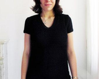 Handknit blouse - navy blue blouse - empire waist - 100% cotton - size S