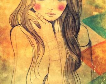 Girl with bangles art print