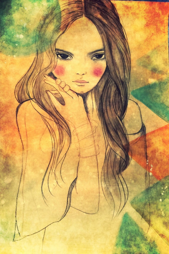 Girl with bangles art print