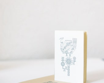 White geometric notebook with screen printed illustration Pheasant