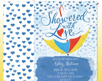 Watercolor Baby Shower Invitation - DIY Print - Showered with Love Baby Boy Umbrella Invitation - Made to Order - Printed Invitations