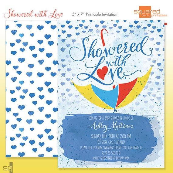 watercolor baby shower invitation  diy print  showered with love, Baby shower invitations