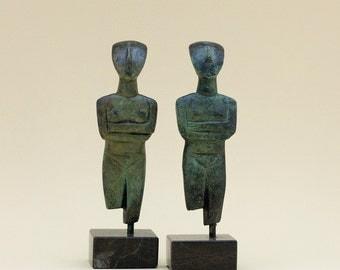 Bronze Sculpture Figurine, Metal Abstract Art, Greek Statue, Museum Quality Art, Geometric Sculpture, Minimalist Cycladic Art, Home Decor