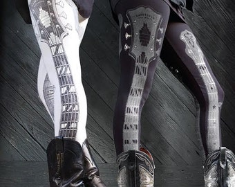 SALE Pearl Inlay Guitar Legging by Carousel Ink - IVORY