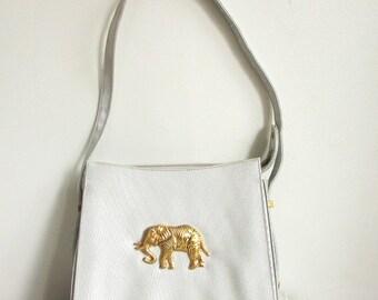 Vintage Purse l 1990's White and Gold Elephant Purse