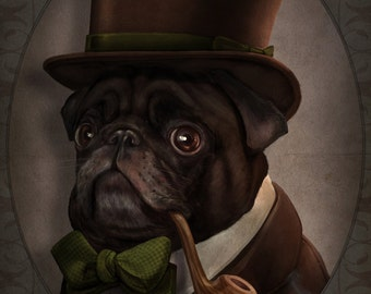 Mr. Copperpot, Black Pug Gentleman Victorian Steampunk Top Hat Pipe Original Illustration Costumed Portrait Poster Print - 4 Sizes Available