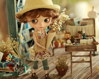 Miss yo 2015 Summer & Autumn - Mori Style Knitted Hollow Pattern Singlet Sweater for Blythe doll - dress / outfit - Yellow Beige