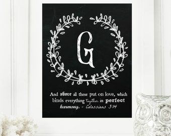 "Instant ""Family Monogram Scripture"" Chalkboard Wall Art Print 11x14 Typography Letter ""G"" Printable Home Decor"