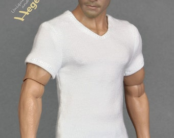 1/6th scale white V-neck T-shirt for: male action figures and fashion dolls