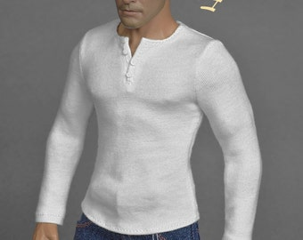 1/6th scale white henley shirt for action figures and male fashion dolls