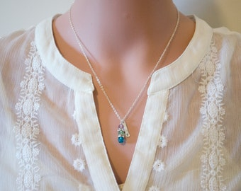 Stacked Crystal Birth Stone Necklace - Family Necklace