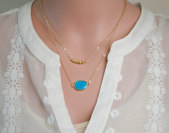 Simple Gold Layered Necklaces | Set of 2 | Gemstone Necklace | Multi Strand Necklace | Double Layer Gold Necklaces | Turquoise & Gold