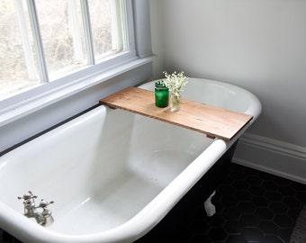 Oak Bathtub Tray - Wooden Bath Tub Caddy Wood Bathtub Shelf Computer Desk Gaming Board Tray Handmade