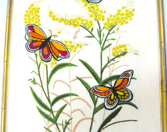 Vintage Crewel Embroidery - Beautiful Baby Bells & Butterflies - 1970's - Home Decor - Wall Art - Retro Tapestry