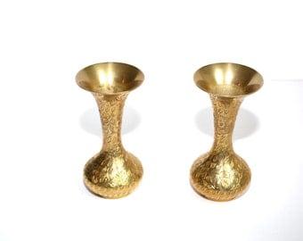 Brass Vase Small Brass Vase Bud Vase Brass Bud Vase Set of 2 Brass Vases