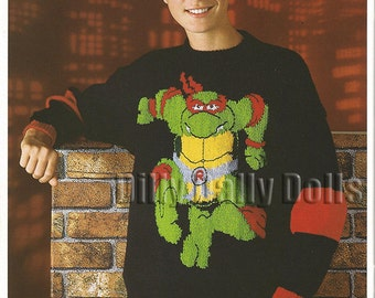Raphael Teenage Mutant Hero Turtles sweater knitting Pattern in Double Knit yarn to fit 26 to 40 inch chest