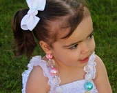 White Pigtail Bow Set - Pigtail Bows  - White Pig Tail Bows
