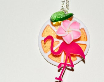 Flamingo Necklace, Orange Slice, Cocktail Necklace, Rockabilly Jewelry, Fruit Necklace, Tropical Necklace, Flamingo Jewelry, Fruity Jewelry