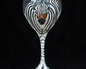 Zebra painted wine glass