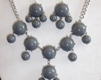 SALE Beautiful Grey and Silver Bubble Necklace and Earrings Boho, Hippie High Fashion, Modern, Great Gift very Light Ready to Ship