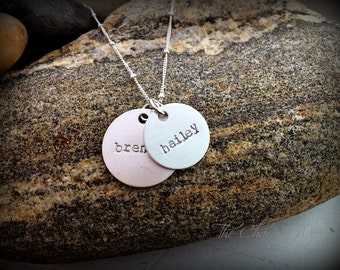 Layered name mom necklace - Hand stamped Mommy Jewelry - Trendy Mom jewelry - Kids name necklace - Sterling Silver Jewelry - Personalized
