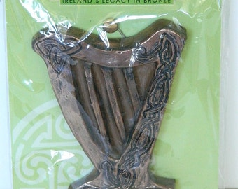 Irish Magical Celtic Harp Door Hanger Good Luck Blessing Vintage