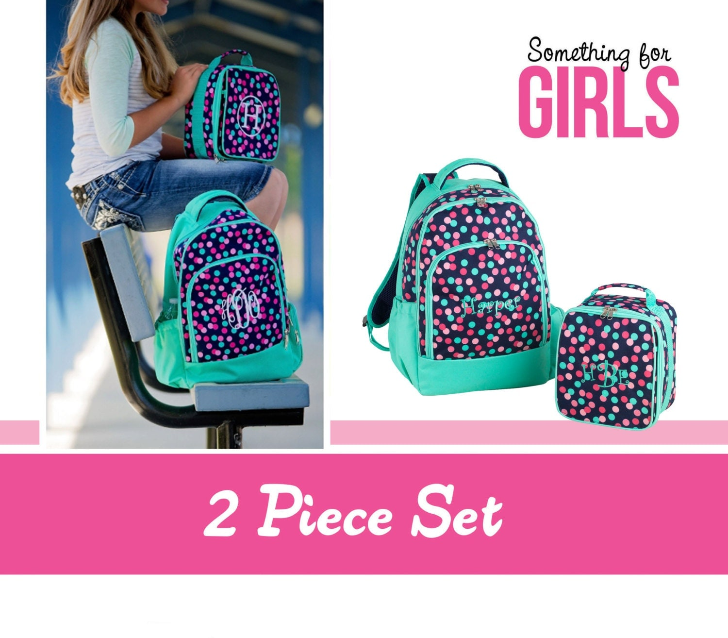 monogrammed school backpack and lunch box set for girls