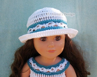 """Crochet Pattern 134 Crochet Hat Pattern for 18 inch Doll Doll Sun Hat Pattern American Dolls Outfit 18"""" Doll Sun Hat Christmas Gift for Girl"""