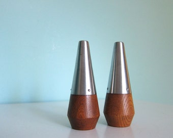 Mid Century Salt and Pepper Shakers - Danish Modern Salt and Pepper - Wood & Steel Salt and Pepper Shakers