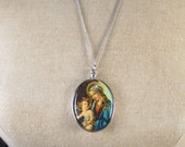 "Vintage Religious German Plastic Virgin Mary Madonna Child Necklace 24"" Chain"