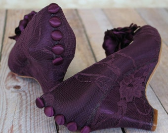 Custom Wedding Shoes -- Aubergine Peeptoe Wedges with Aubergine Buttons and Flowers on Toe