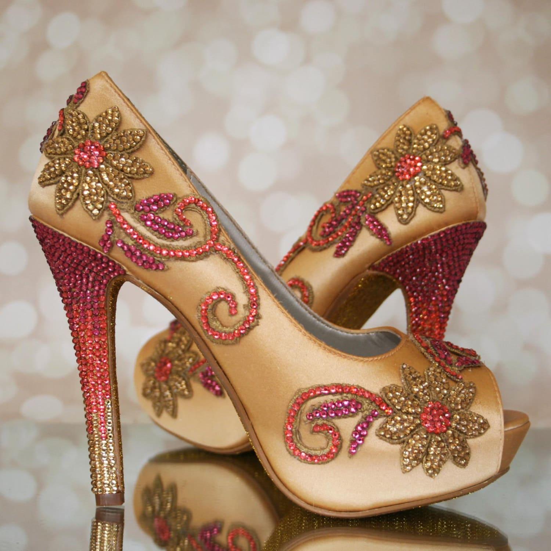 Custom Wedding Shoes Gold Platform Peeptoe Custom Wedding