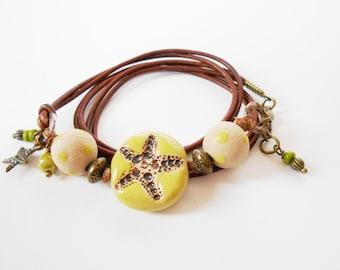 green leather wrap bracelet, starfish bracelet,  beach leather bracelet, artisan jewelry, OOAK unique wrap , gift for her