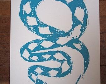 Hand Pulled Screen Print, Original Illustration - Snake & Mouse, Original Art, Decor
