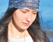 Music festival headband, Blue lace headband, festival stretchy lacy hair bands, boho headband