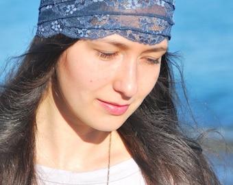 CLEARANCE SALE. Music festival headband, Blue lace headband, festival stretchy lacy hair bands, boho headband