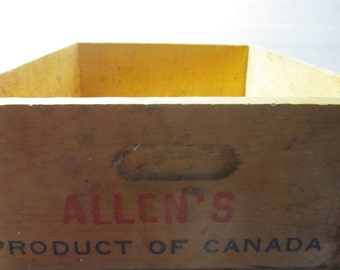 Vintage Maine Blueberry Box Wooden Crate Box Allen's Blueberries Marked Reno pickers signiture 19 x 13 x 6