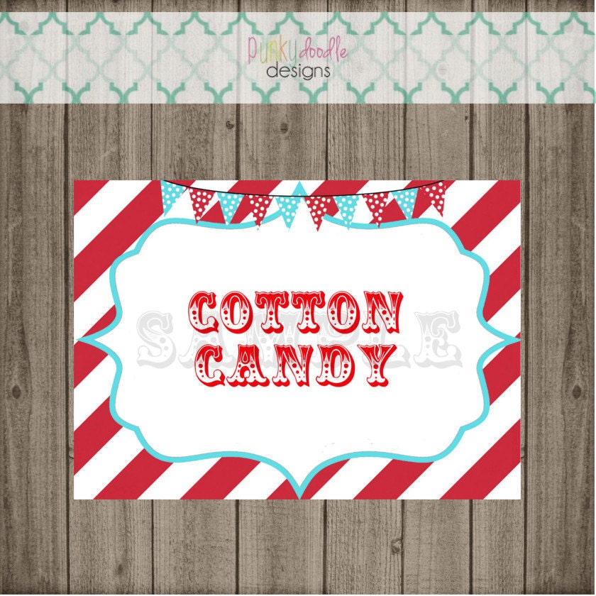 Cotton Candy Sign: Carnival Party Signs Circus Party Signs Circus Signs Carnival