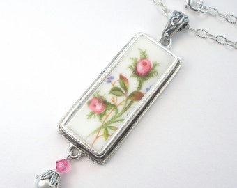 Pink Rose Bud Pendant Necklace Vintage Charm 'Broken China' Porcelain Jewelry by Charmedware