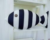 Fish Pillow - Navy and White Striped Pillow - Nautical Nursery - Coastal Decor