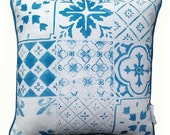 Tiles linen cushion cover