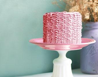 Pink Cake Stand for Vintage Pink Weddings / Cupcake Stand for Custom Cupcakes for Vintage Pink Baby Shower / Cake Pedestal for Bridal Shower