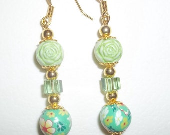 Dangling Beaded Earrings With Green Sculptured Flower Beads, Clay Flowers & Light Green Glass Cube Beads