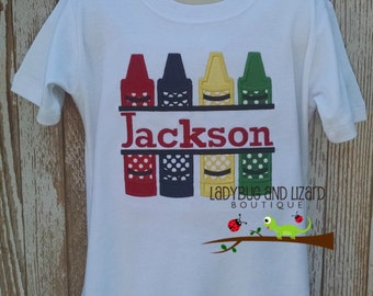 Boy's Back to School Split Crayons Short Sleeve Top with Monogram Sizes 12M-18M, 2T-5T, 6