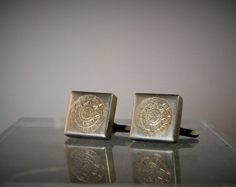 Vintage Mens Wear Sterling Silver Aztec Vintage Cuff Links Made in Mexico Ready to Wear Gift Idea Quality Handmade DanPickedMinerals