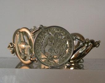 Vintage Handmade Bracelet Silver Peruvian Coin Cutout and Alpaca Bracelet Silver Gift Quality Ready to Wear DanPickedMinerals